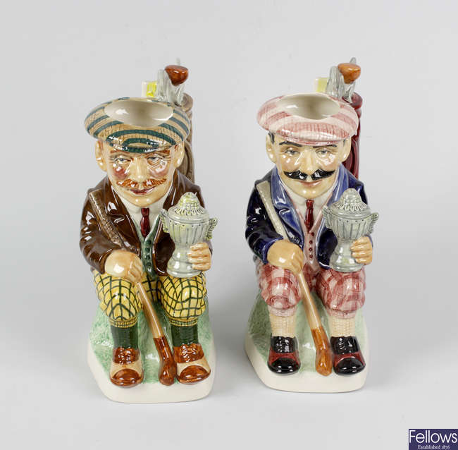 Golfing interest: A pair of Kevin Francis figures plus a suite of golf-related glassware.
