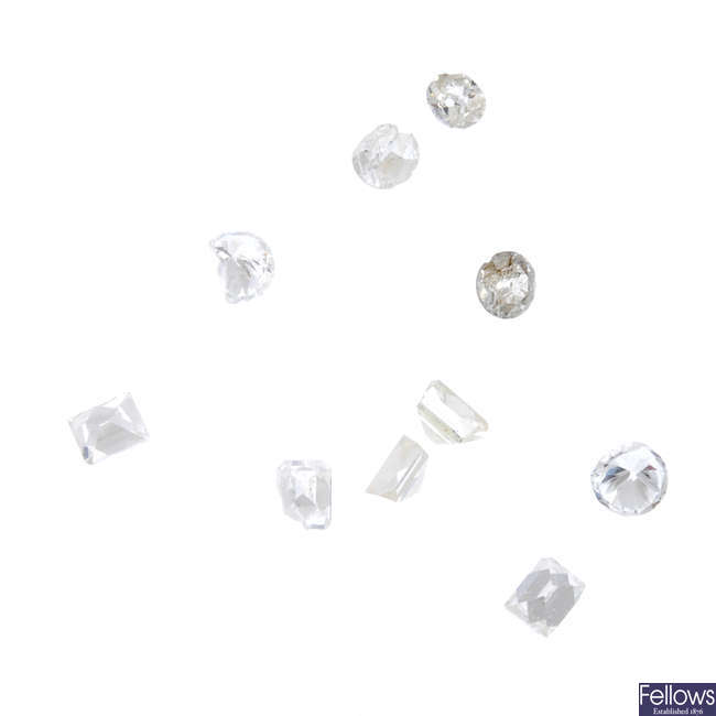 A selection of vari-shape diamonds, total weight 4.45cts.