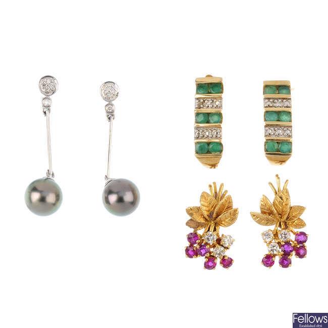 Three pairs of diamond and gem-set earrings.