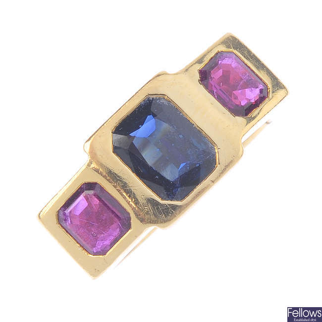 A sapphire and ruby ring.