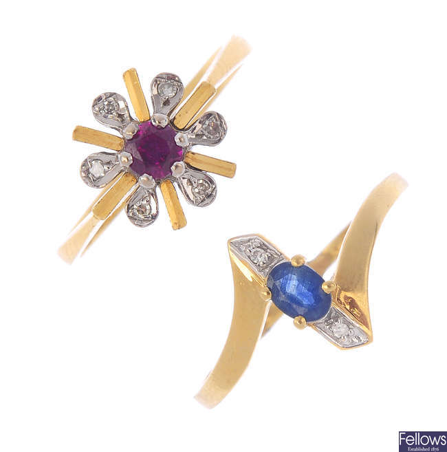 Three diamond and gem-set rings.