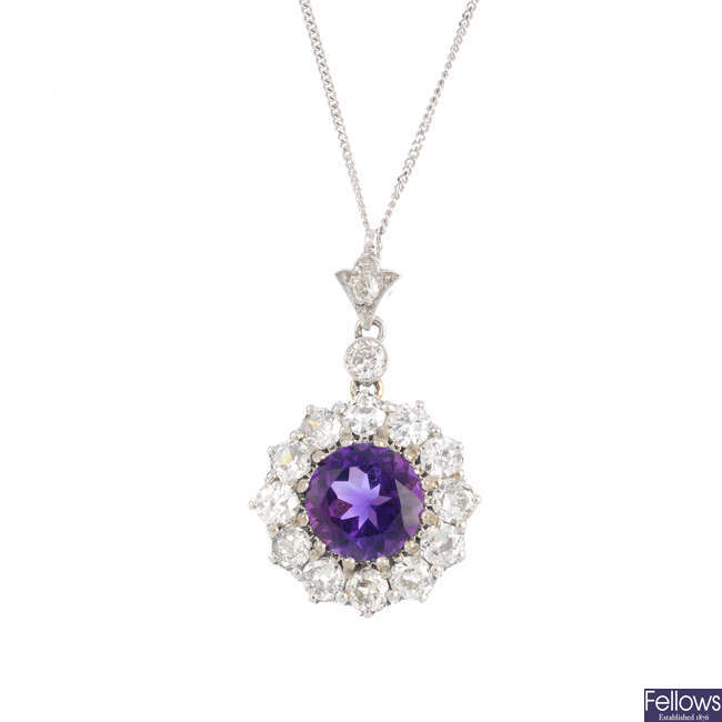 A diamond and amethyst cluster pendant, with 18ct gold chain.