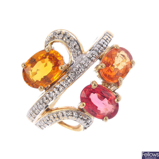 A 9ct gold diamond and gem-set ring.