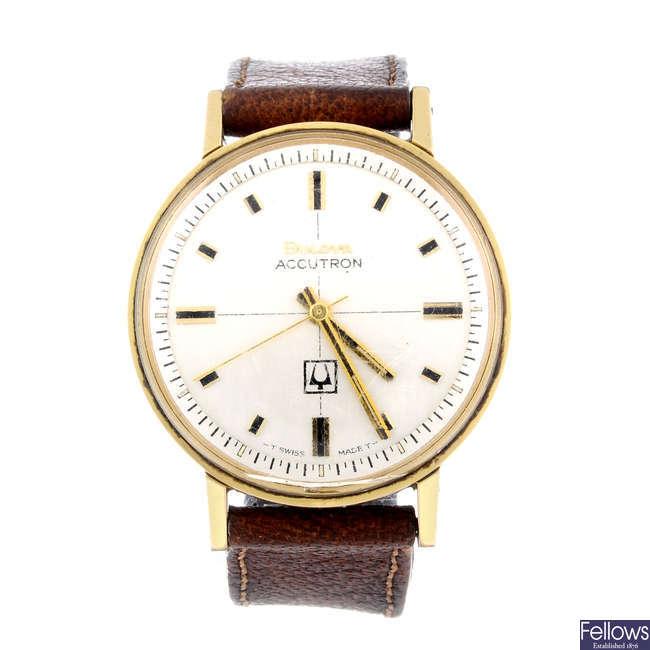 BULOVA - a gentleman's gold plated Accutron wrist watch.