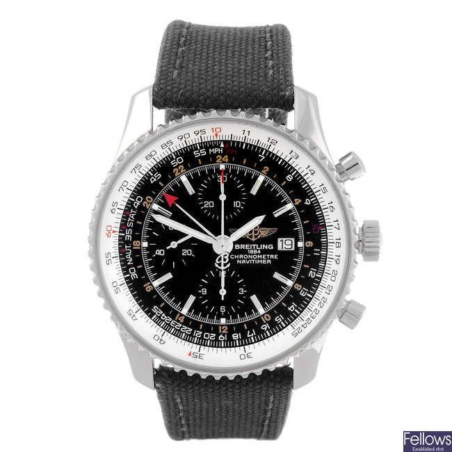 BREITLING - a gentleman's stainless steel Navitimer World chronograph wrist watch.