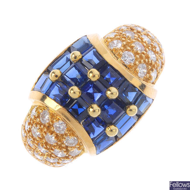 A sapphire and diamond bombe ring.