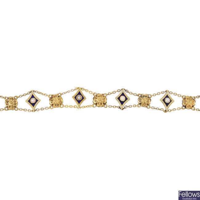 A late Victorian gold split-pearl and enamel bracelet.