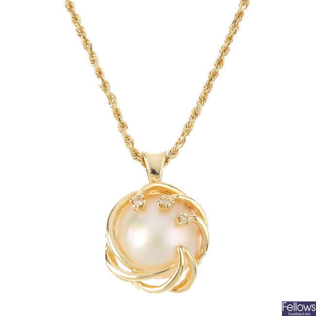 A mabe pearl and diamond pendant, with chain.