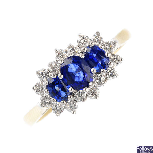 An 18ct gold sapphire and diamond ring.