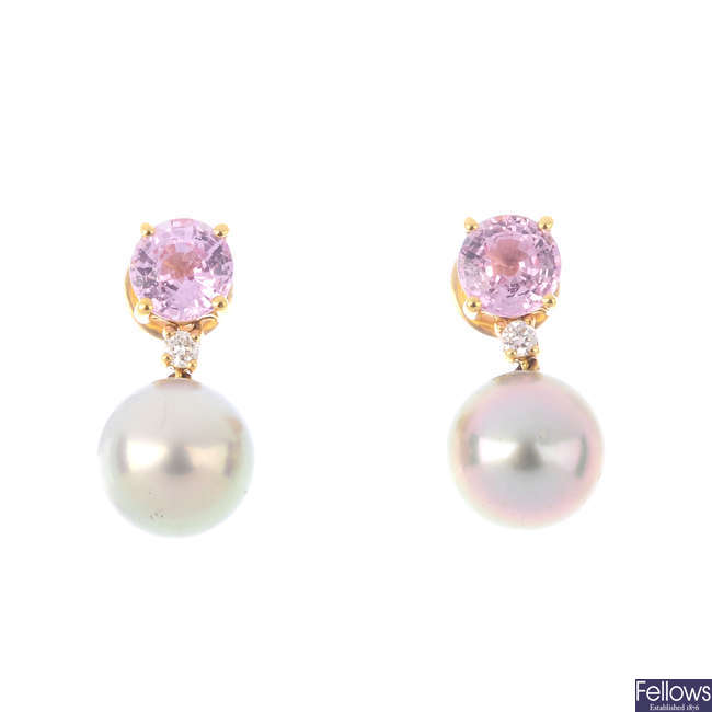A pair of 18ct gold sapphire, diamond and cultured pearl drop earrings.