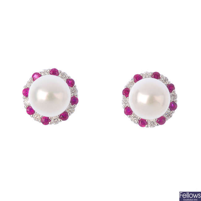 A pair of 18ct gold cultured pearl, ruby and diamond earrings.