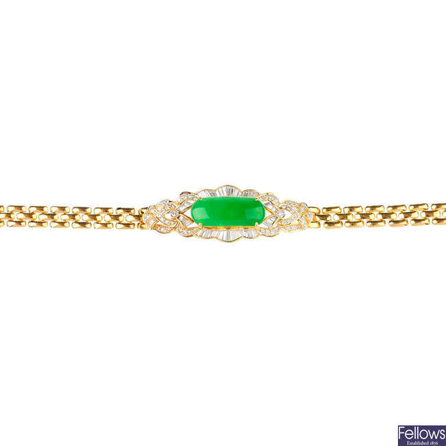 A jade and diamond bracelet.