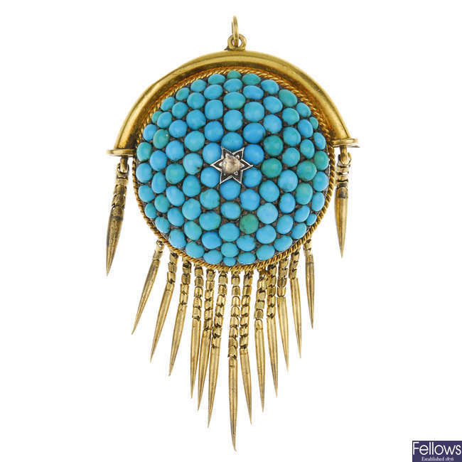 A late Victorian 18ct gold turquoise and diamond memorial brooch.