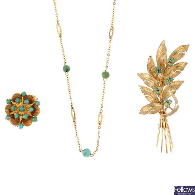 Three items of turquoise jewellery.