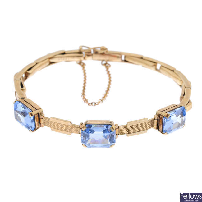 A mid 20th century 9ct gold synthetic spinel bracelet