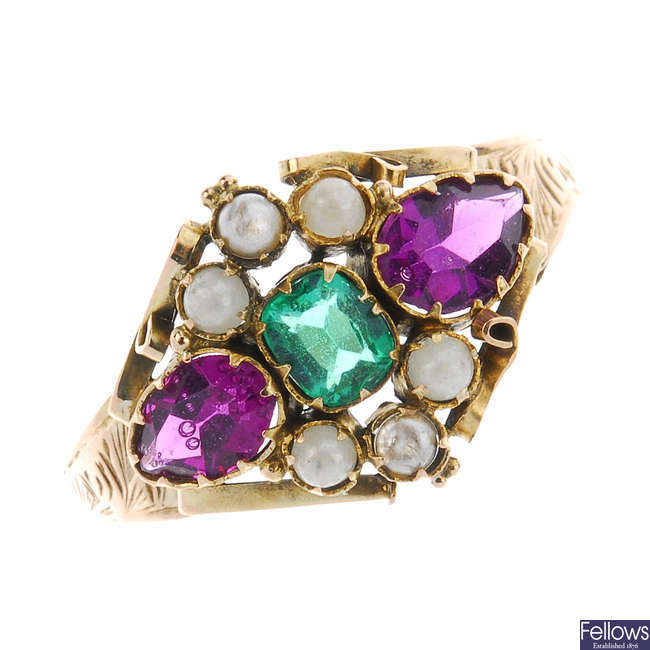 A late Victorian 9ct gold ring with replacement imitation pearls and paste.
