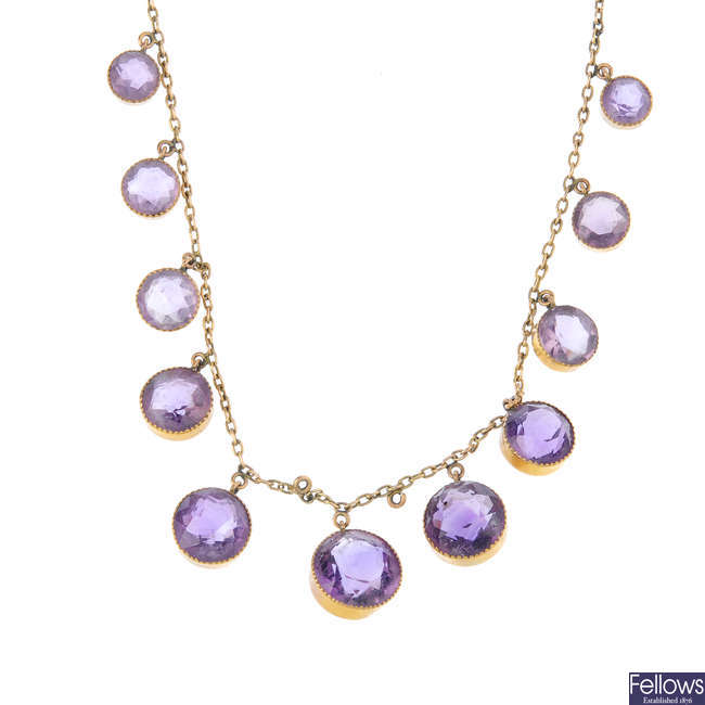 An early 20th century 9ct gold amethyst necklace