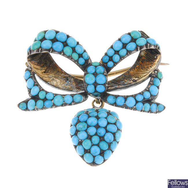 A late Victorian turquoise memorial brooch.