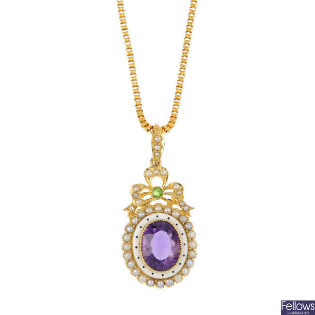 An early 20th century 15ct gold enamel and gem-set pendant, with chain.