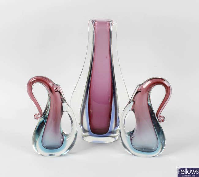 A garniture of three Venetian (Murano) glass vases