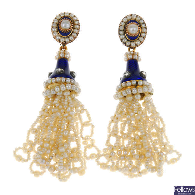 A pair of late 19th century enamel diamond and seed pearl ear pendants.