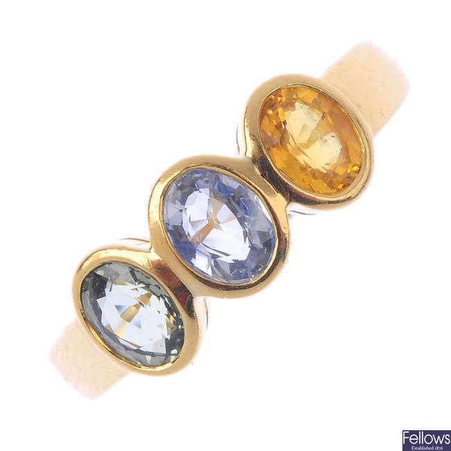 A sapphire three-stone ring.