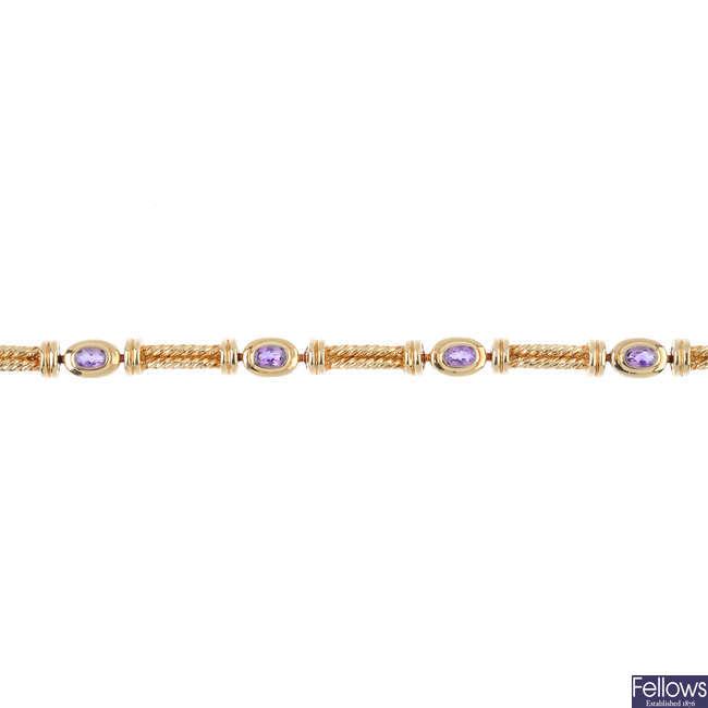 A 9ct gold amethyst bracelet.