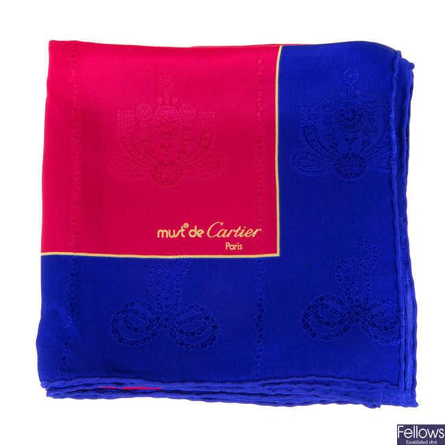 CARTIER - a Must De Cartier silk scarf.
