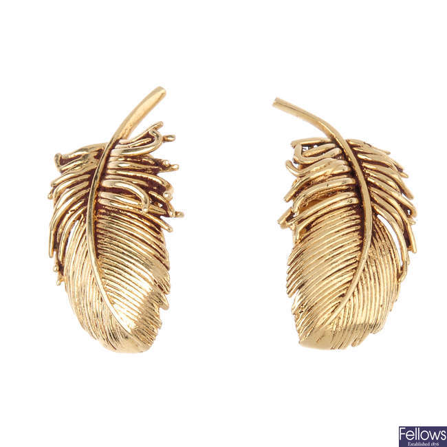 A pair of 1950's 14ct gold clip earrings.