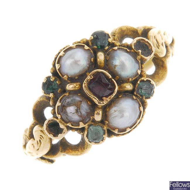 A mid Victorian gold gem-set memorial ring.