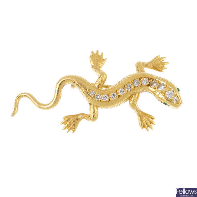 An 18ct gold diamond salamander brooch, by E Wolfe & Co.