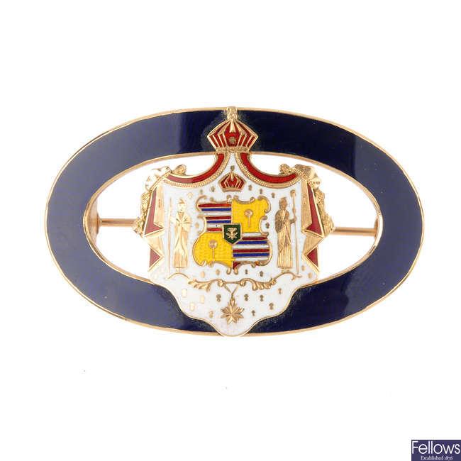 An enamel brooch.