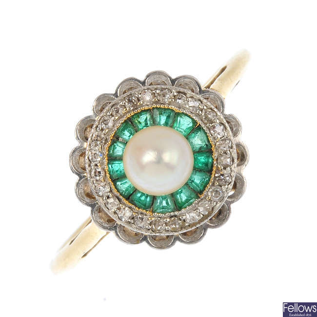 An Art Deco emerald, diamond and cultured pearl cluster ring.