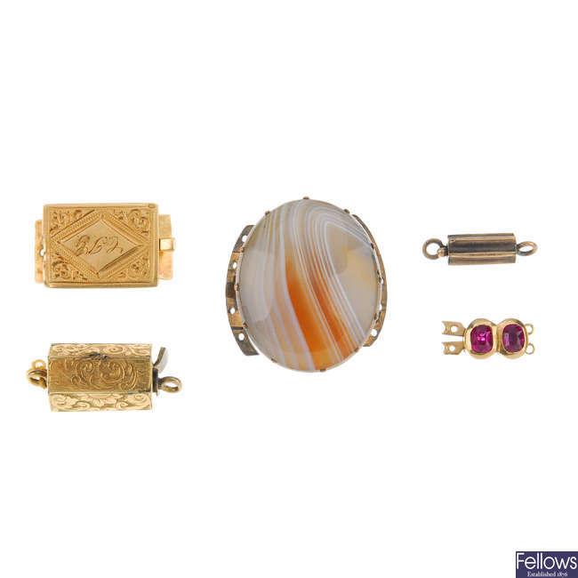 Five 19th century clasps.
