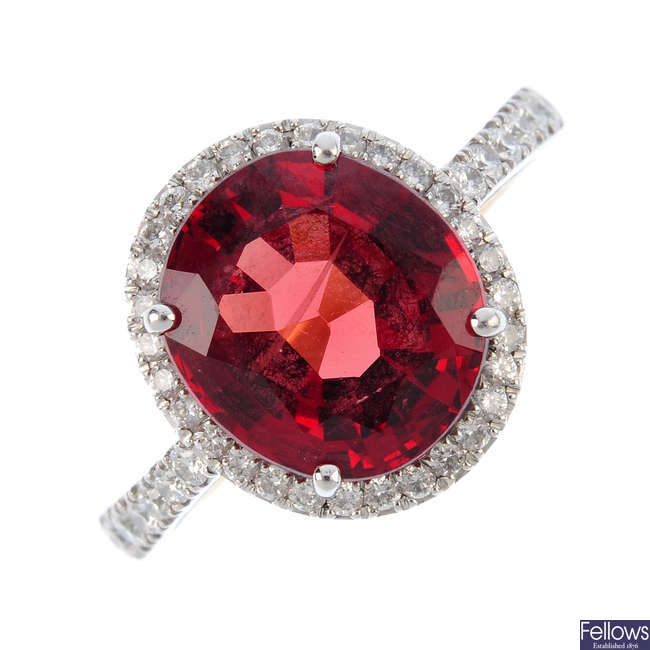 A spinel and diamond cluster ring.
