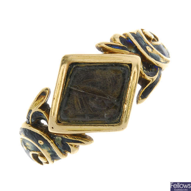 An early Victorian 18ct gold enamel memorial ring.