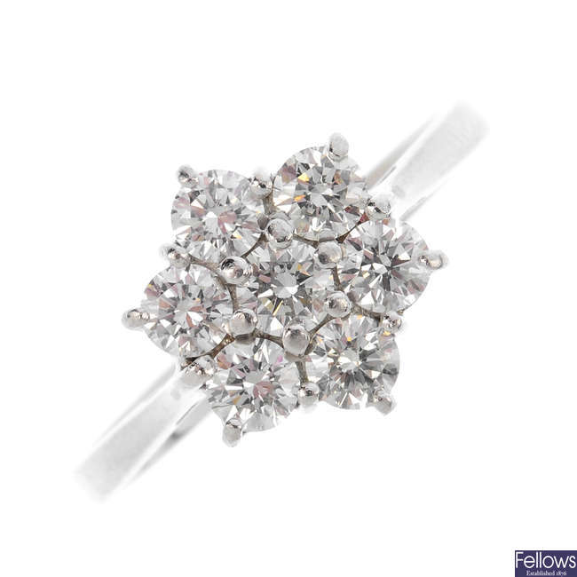 A platinum diamond cluster ring.