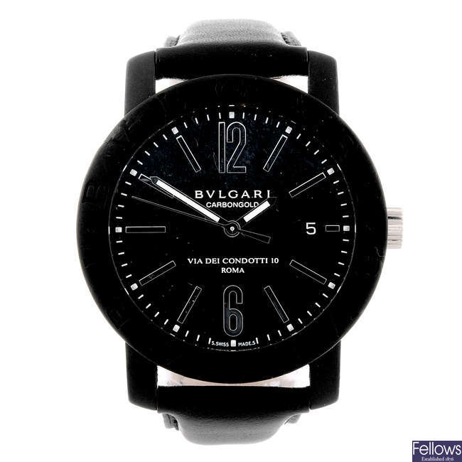 BULGARI - a gentleman's carbon fibre Carbongold 'Roma' wrist watch.