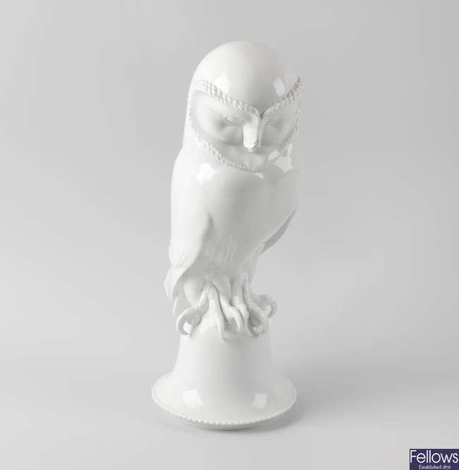 A Meissen porcelain figure of a barn owl