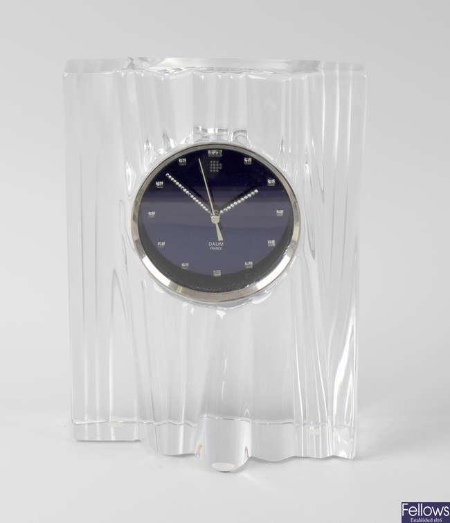 A modern French Daum (Nancy) lead crystal glass mantel clock