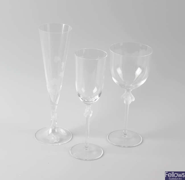 Five pairs of Lalique wine and champagne glasses