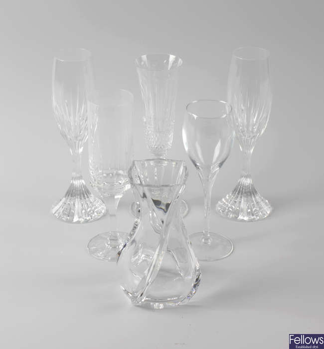 Seven pairs of French champagne glasses