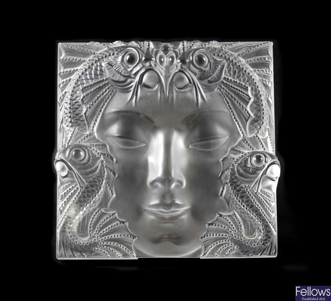 'Masque de Femme', a large and impressive modern Lalique frosted crystal glass panel