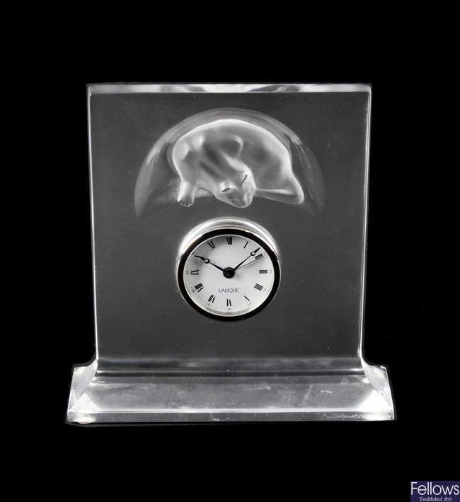 A modern Lalique mantel clock