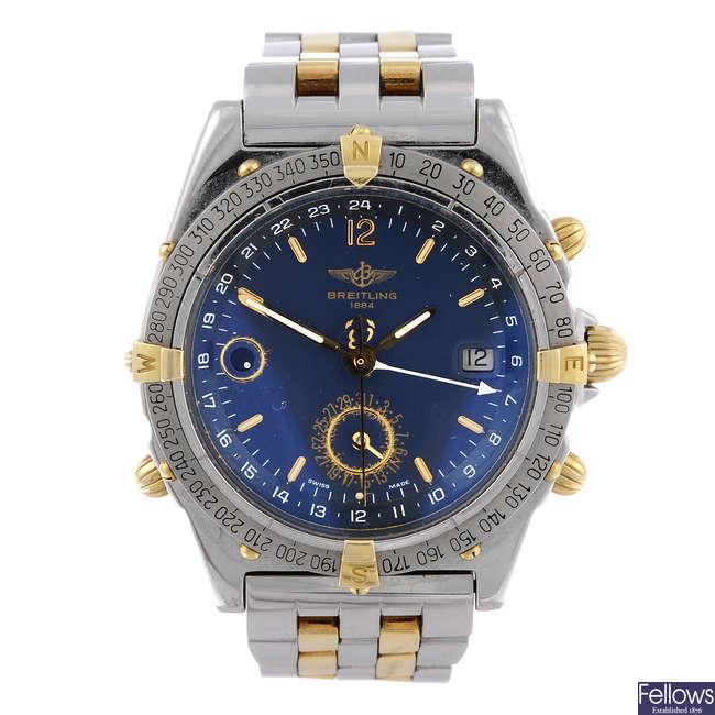 BREITLING - a gentleman's stainless steel Windrider Duograph bracelet watch.