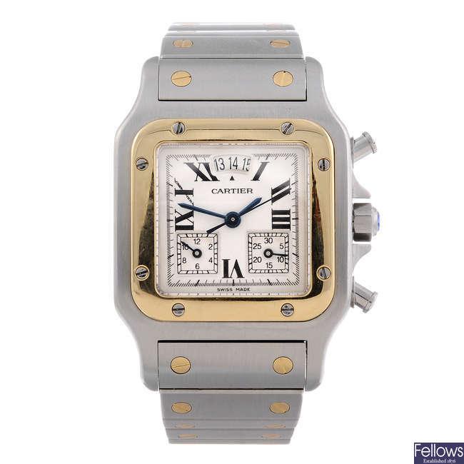 CARTIER - a bi-metal Santos Chronoflex chronograph bracelet watch.