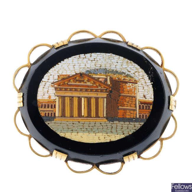 A micro mosaic brooch.