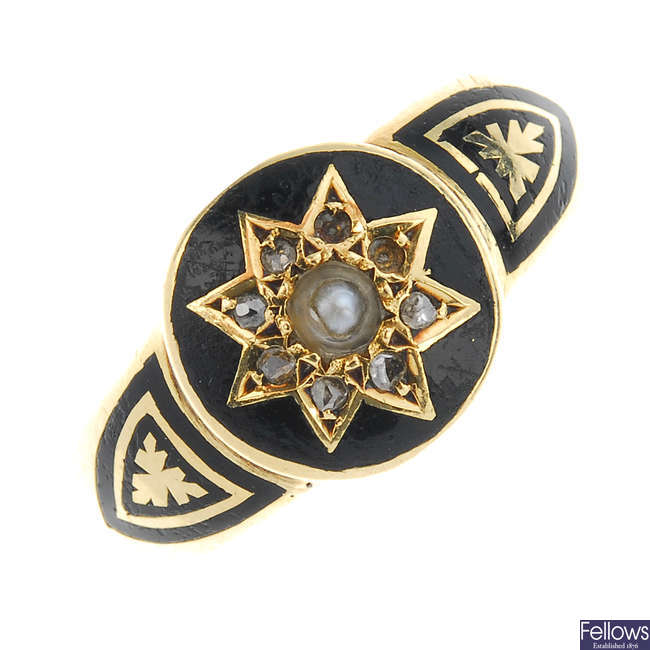 A late Victorian 15ct gold memorial diamond and enamel ring.