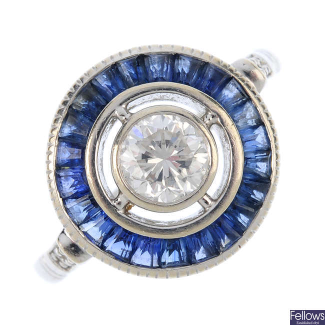 A diamond and sapphire dress ring.