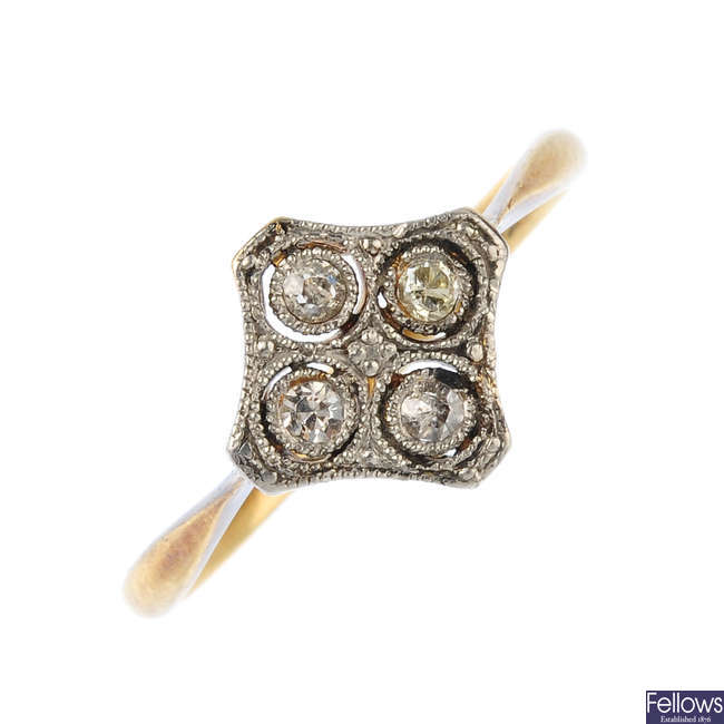 An early 20th century 18ct gold and platinum diamond quatrefoil ring.